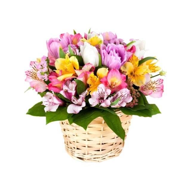 Всплеск чувствКорзины с цветами<br>Яркая и невероятно привлекательная композиция зарядит своего получателя<br>позитивными эмоциями на долгое время вперед. Сочетание разноцветных<br>альстромерий, помещенное в компактную корзинку, вызовет радостную улыбку<br>у подружки в день ее рождения. Преподнесенный в честь первого свидания<br>милый букет поможет выразить искреннее чувство симпатии и завоевать<br>внимание понравившейся девушки.<br>