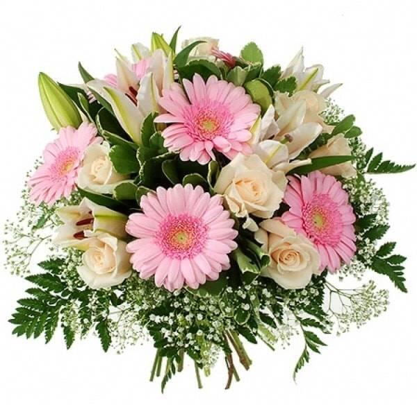 Ароматная ромашкаГерберы<br>Когда в одном букете смешиваются герберы, лилии и розы – приятный,<br>запоминающийся запах гарантирован. Нежные цвета придают букету стиль и<br>изысканность, а украшение папоротником вносит дополнительный штрих в<br>общую картину. Букет означает искренность, светлость и улыбку, подходит для<br>друзей или коллег, чтобы извиниться или просто порадовать.<br>