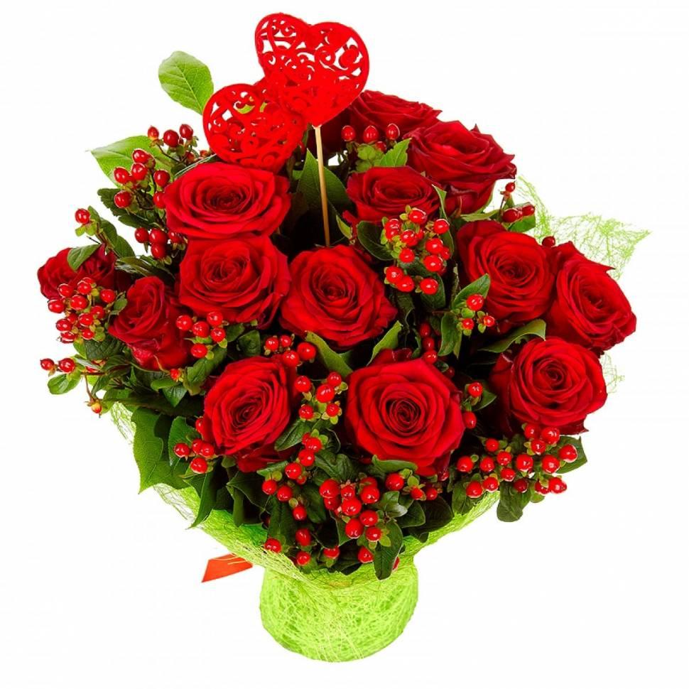 Ты моё счастьеРозы<br>Всеми любимые красные розы<br>олицетворяют страсть, пьянящую любовь и безудержное желание. В тандеме со<br>спелыми ягодами гиперикума они выглядят просто восхитительно и бесконечно<br>радуют глаз, поэтому этот букет пользуется особой популярностью. Выбирая его<br>для своей женщины, вы сможете в полной мере выразить своё уважение к избраннице<br>и восхищение её красотой. Он также символизирует сильную эмоциональную<br>привязанность и необузданную страсть. Однако главная прелесть этой композиции<br>не только в роскошном внешнем виде, но и в чарующем аромате благородных алых<br>роз.<br>