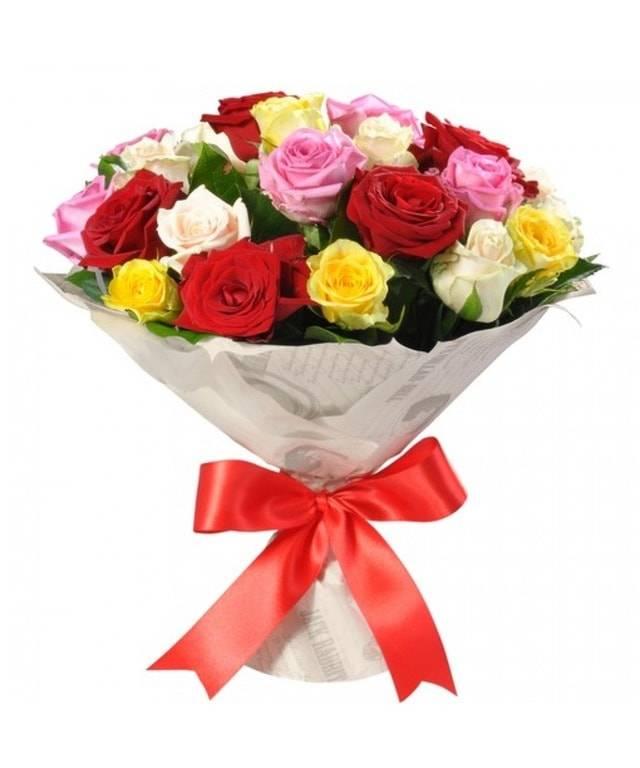 Букет из разноцветных розРозы<br>В мире не существует вещей ярче и веселее, чем букет из роз нескольких<br>цветов. Тут и нежный белый, и влюбленный красный, и веселый желтый, и<br>заботливый розовый. Цветы повысят настроение близкого человека, подарят<br>множество эмоций и надолго запомнятся. Подарить разноцветные розы можно<br>любимой или друзьям, а наградой будет радостный и благодарный взгляд.<br>