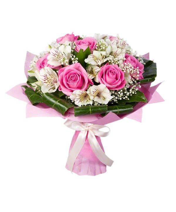 Девичья нежностьРозы<br>Любимое миллионами сочетание роз и альстромерий получило новое<br>воплощение в букете «Девичья нежность». Красивые цветы нежных розовых и<br>белых цветов смотрятся вместе непередаваемо, такой букет запомнится на всю<br>жизнь. Оформление дополняет гипсофила и аспидистра, делая букет зеленее и<br>приятнее. Цветы подойдут не только любимой, но и друзьям или коллегам.<br>