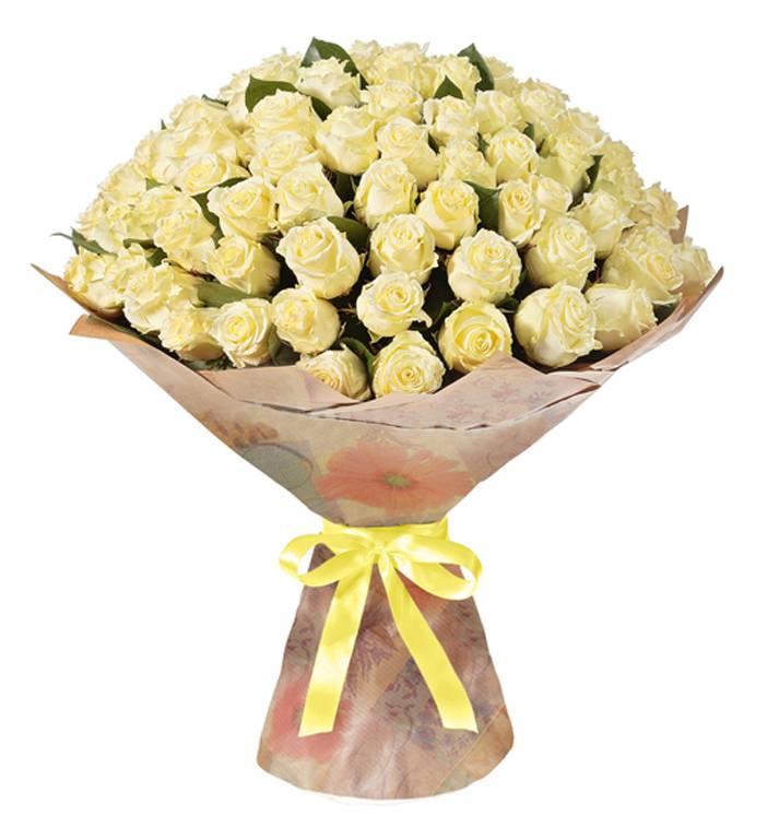 101 белая розаРозы<br>Подарить шикарный букет, состоящий из 101 белой розы можно по множеству<br>поводов. Это отличный подарок на свадьбу, подходит для извинения или<br>поздравления с Днем Рождения. Белый цвет символизирует непорочность,<br>светлость и чистоту чувств и намерений, даря букет «101 белая роза» близкому<br>человеку или возлюбленной, точно увидите в их глазах счастье и<br>благодарность.<br>