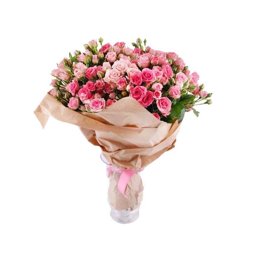 Розовый фонарикКустовые розы<br>Кустовые розы – универсальный способ демонстрации хорошего отношения и<br>преданности. Розовый цвет покажет учтивость и вежливость. Такой букет<br>смотрится стильно, ярко и гармонично, подходит для извинения перед<br>друзьями или возлюбленной, не сможет оставить равнодушным никого. Милое<br>оформление розовых цветов показывает расположенность и искреннее желание<br>поднять настроение близкому человеку.<br>
