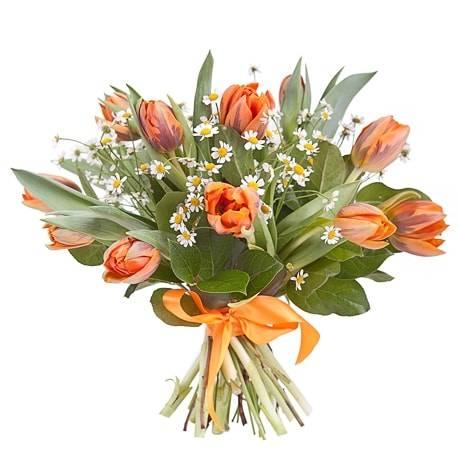 ЯркийТюльпаны<br>Стильный и невероятно красивый букет в основном состоит из оранжевых тюльпанов, с их помощью поднимается настроение и желается крепкое здоровье любому человеку, именно это символизирует оттенок цветка. Композиция выглядит еще интересней и гармоничней за счёт скромной красоты ромашек и множества зелени, придающей букету свежести и яркости. Таким подарком можно обрадовать любимую женщину, членов семьи, друзей или же преподнести в качестве извинения.<br>