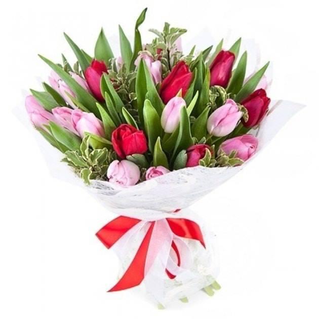 Мой приветТюльпаны<br>«Мой привет» - это превосходный букет, который состоит из разноцветных тюльпанов, преимущественно яркого красного и изысканного розового цвета, которые символизируют страстную любовь и трепетную нежность. Дополнительную красоту композиции придает зелень, благодаря которой букет выглядит более свежим. С помощью такого подарка вы непременно сможете добиться расположения от милого сердцу человека, а также он отлично подойдет для принесения извинений.<br>