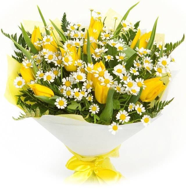 Солнечный подарокТюльпаны<br>Букет «Солнечный подарок» невероятно яркий и красочный. Он состоит из ярко-желтых тюльпанов, которые дарят своему получателю яркие солнечный эмоции, счастье и истинное наслаждение. Нежную нотку букету придает наличие в нем милых маленьких ромашек, они олицетворяют доброту, скромность и невинность. Эта очаровательная композиция поможет вам завоевать искреннее чувство симпатии или же загладить вину перед любимым человеком. Такой подарок не забудется никогда.<br>
