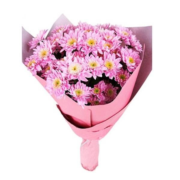 Розовый подарокХризантемы<br>Розовый цвет обожают большинство женщин, а розовые цветы в<br>обертке того же цвета станут идеальным жестом внимания как для возлюбленной,<br>так и для важной в жизни дамы в честь знаменательного жизненного события или<br>просто без повода. Розовые хризантемы обозначают радость и открытость, они<br>подарят заряд хорошего настроения на несколько дней и оставят теплый след.<br>Наслаждение легким манящим, кружащим голову запахом длится часами, подарок<br>точно приведет к заслуженной благодарности.<br>