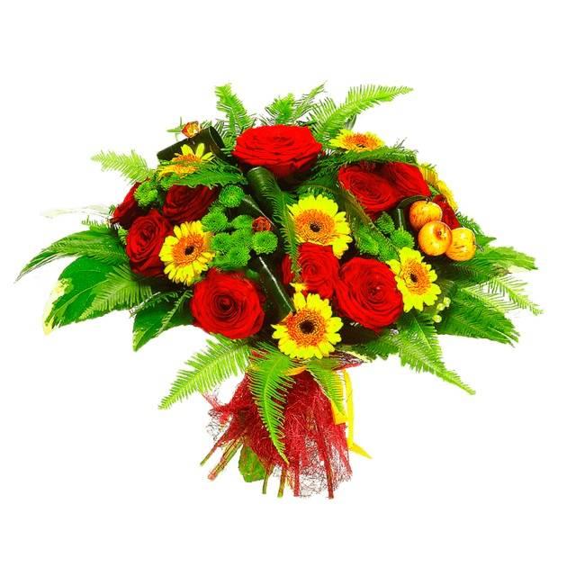 ПальмаГерберы<br>В ярком букете «Пальма» присутствуют несколько цветов: красный, желтый и<br>зеленый». Сочетание маленьких гербер гермини, роз и хризантем вызовет<br>непередаваемые эмоции у каждого. Цветы букета означают улыбку, небольшую<br>тайну и любовь, так что букет отлично подойдет, чтобы впервые или еще раз<br>сказать дорогому человеку о его значимости в жизни.<br>