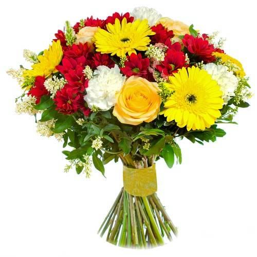 ЛираГерберы<br>«Лира» - букет, сочетающий в себе несколько видов цветов, придавая<br>уникальность и особенность такому комплекту. Хризантемы, розы, герберы и<br>гвоздики показывают предрасположенность к человеку, такая композиция<br>станет отличным подарком на юбилей коллеге или другу. Яркие цвета<br>символизируют улыбку и радость, то, что нужно для хорошего праздника.<br>